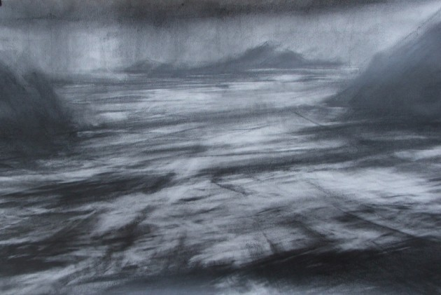 Puffin Sound, Co Kerry graphite on paper 80x117cm
