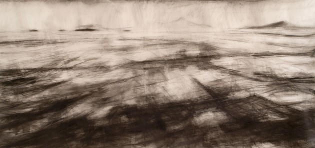 The Sea of Hebrides from Iona 2008, graphite on paper, 135x285 cm